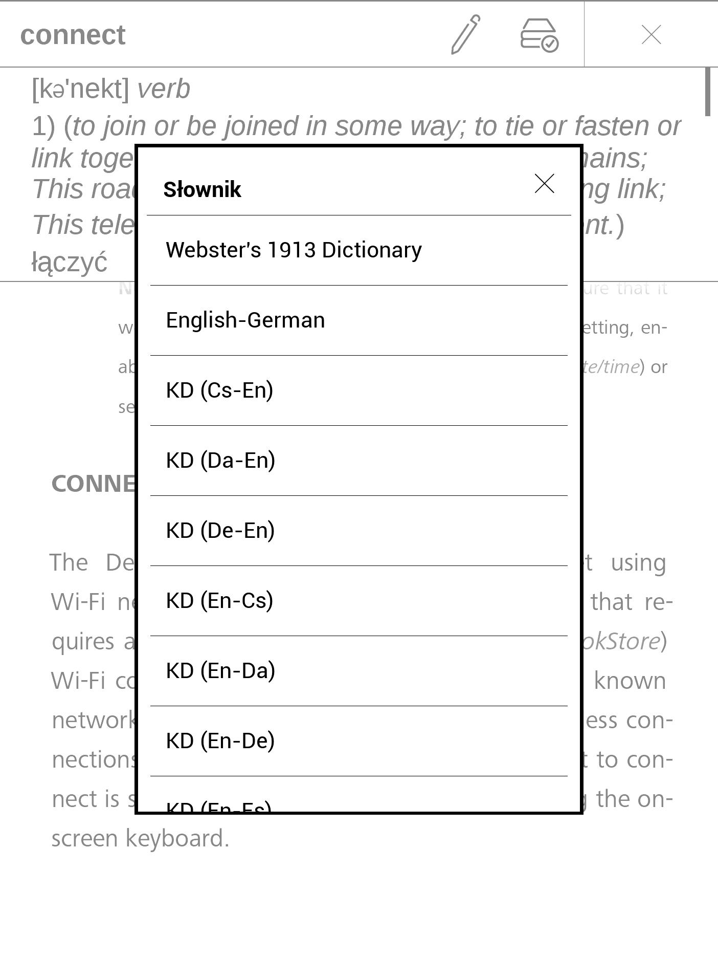 wybór słownika pocketbook