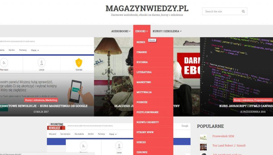 Portal internetowy Magazynwiedzy.pl z darmowymi e-bookami