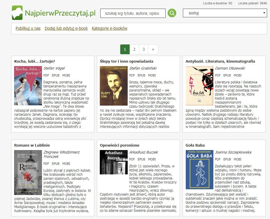 Strona internetowa z darmowymi e-bookami na czytniki - najpierwprzeczytaj.pl
