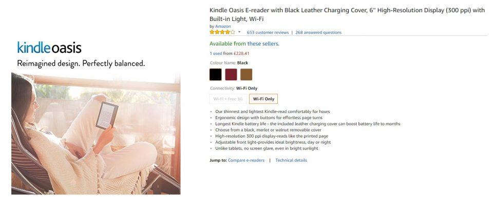 Amazon Kindle Oasis czytnik na ksiązki