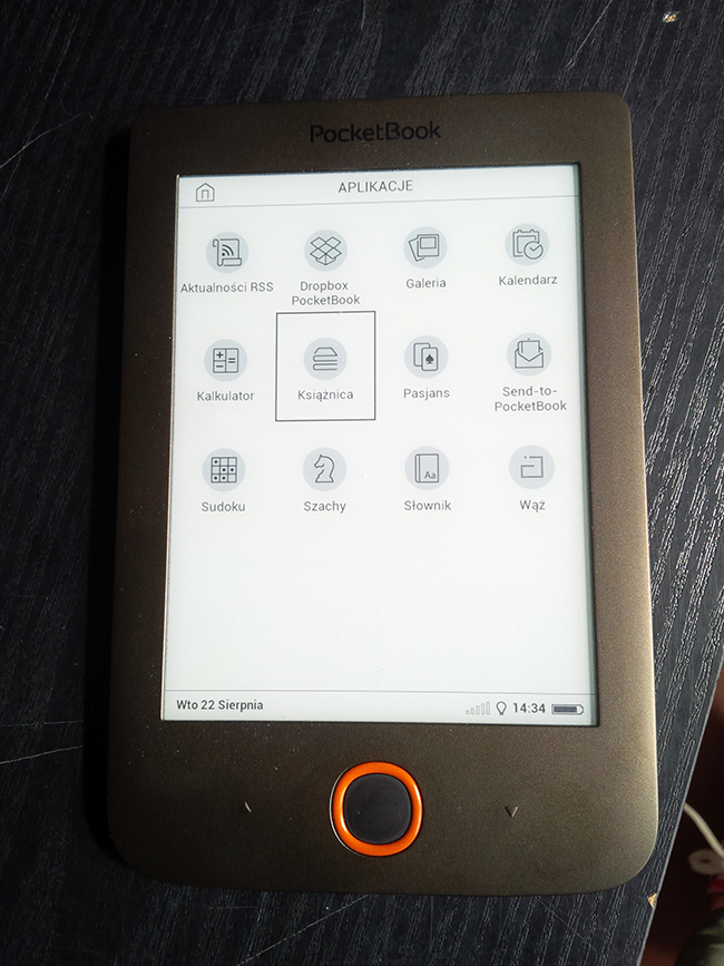 PocketBook Basic Lux, aplikacje, książki, e-book, czynik książek