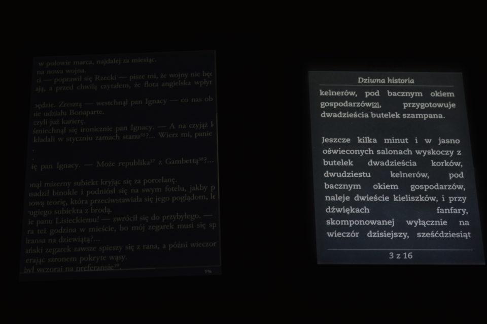 opcja podświetlenia w negatywie Kindle I Cybook