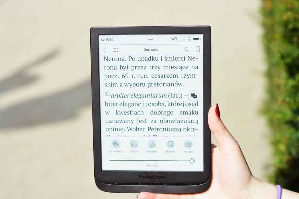 Zmiana ustawień tekstu w pocketbooku Inkpad 3.