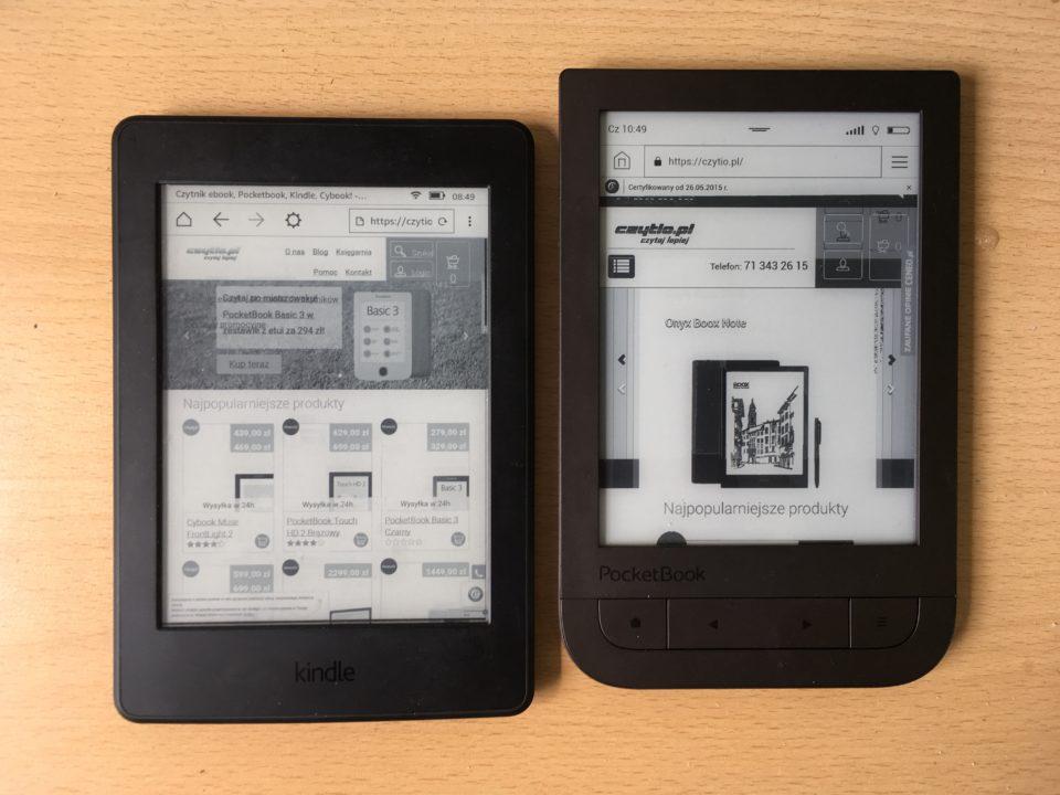 przeglądarka internetowa kindle paperwhite 3 i pocketbook touch hd 2.