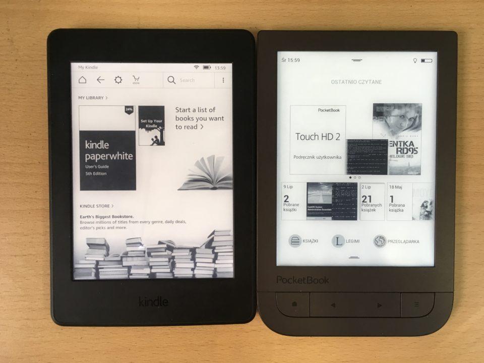 Podświetlenie w czytniku Kindle Paperwhite 3 i PocketBook Touch HD 2 porównanie