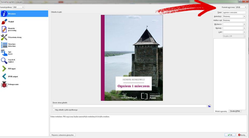 format wyjsciowy calibre pdf do mobi