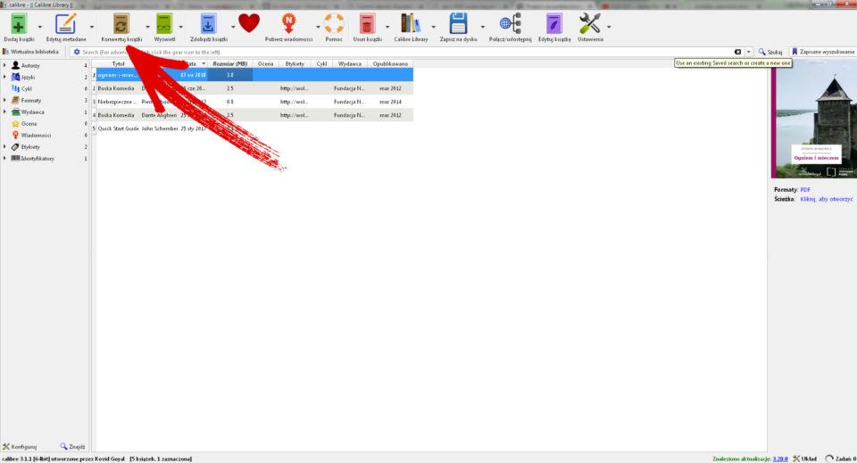 calibre konwersja ksiazki z mobi do pdf