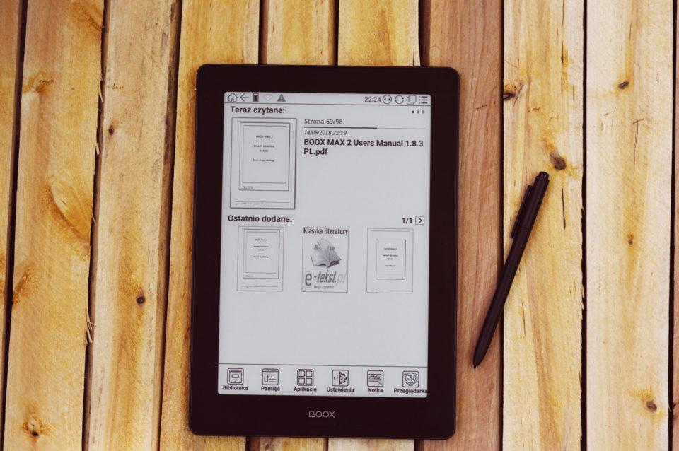 onyx boox note s ekran główny