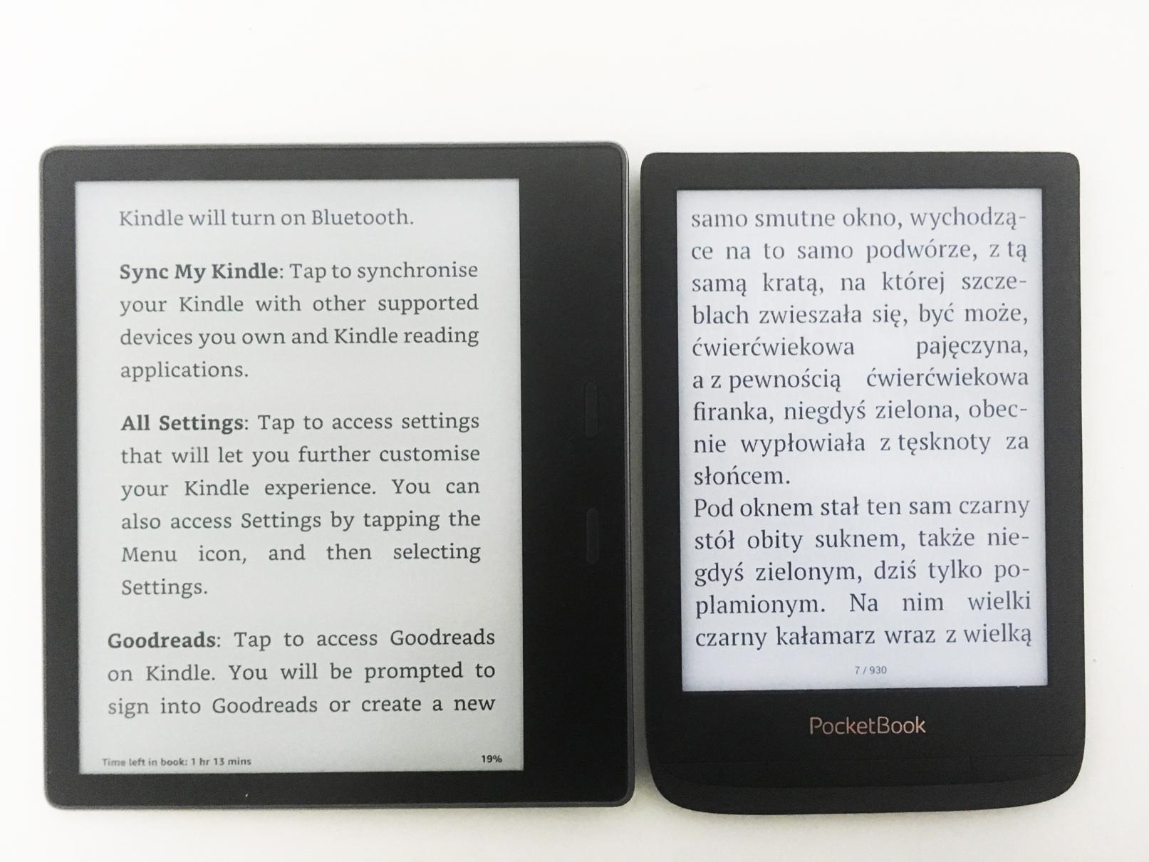 Kinlde oasis 2 pocketbook lux 4 czytanie
