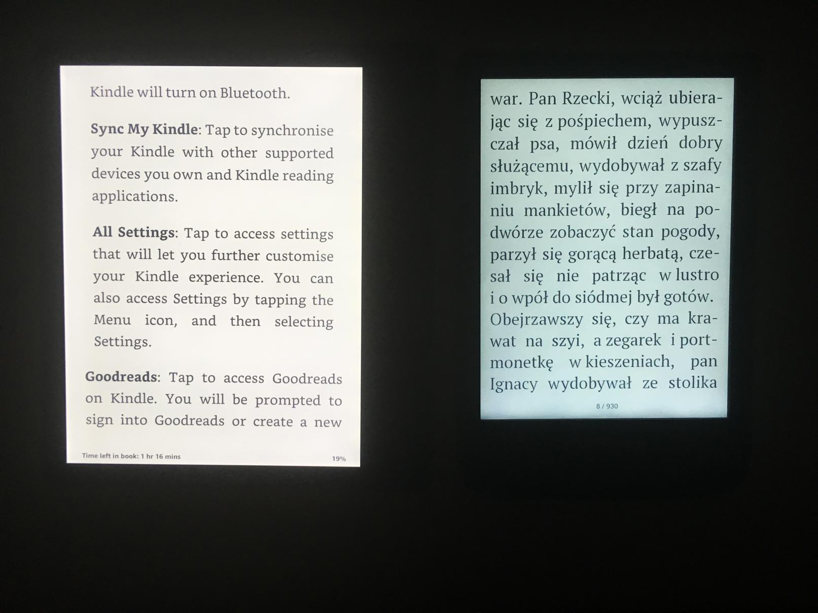 podświetlenie porównanie Kindle Oasis 2 PocketBook Touch Lux 4