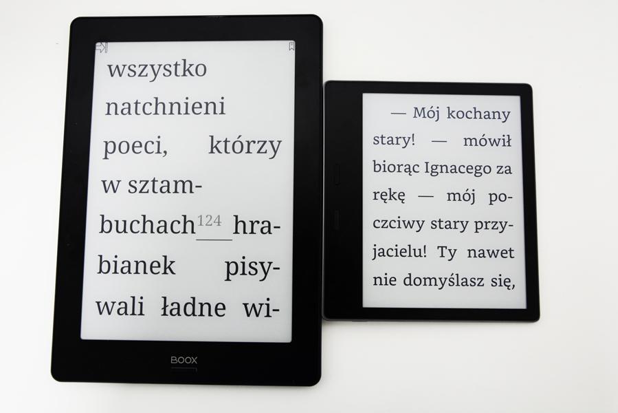 Onyx Boox Note S Kindle Oasis 2 powiększony tekst porównanie.