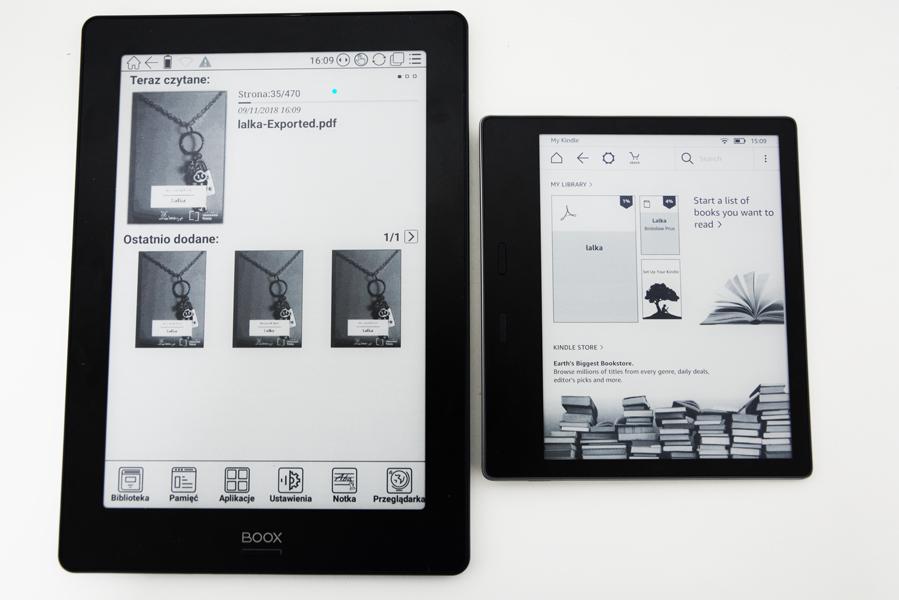 onyx boox note s kindle oasis 2 ekran główny porównanie