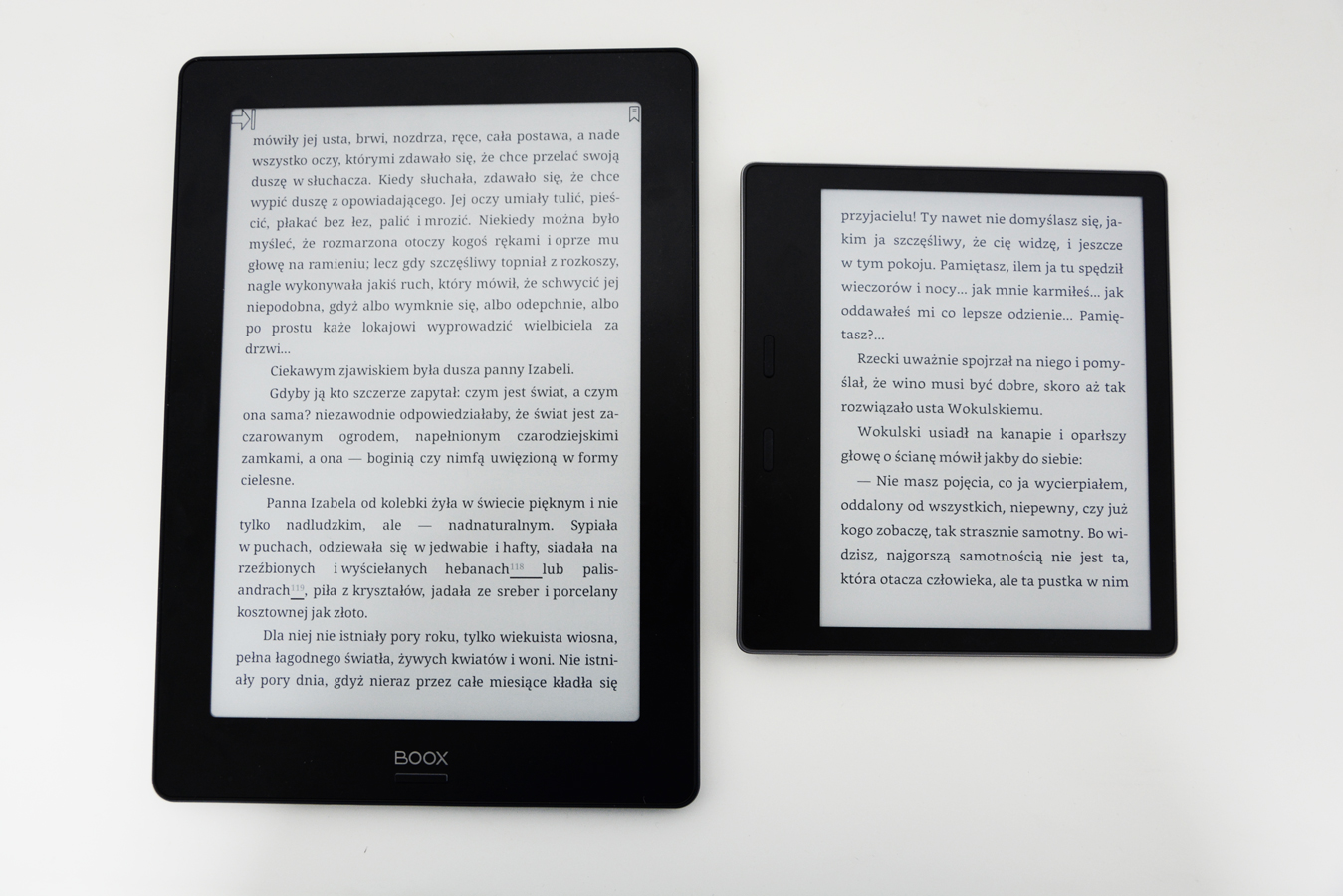 Onyx Boox Note S Kindle Oasis 2 tekst porównanie ekranów ostrość kontrast tekstu.