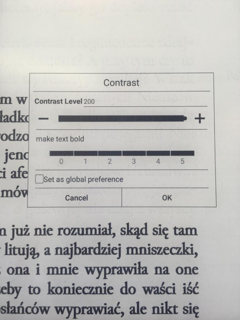 ustawienia kontrastu w Oonyx Boox Nova Pro