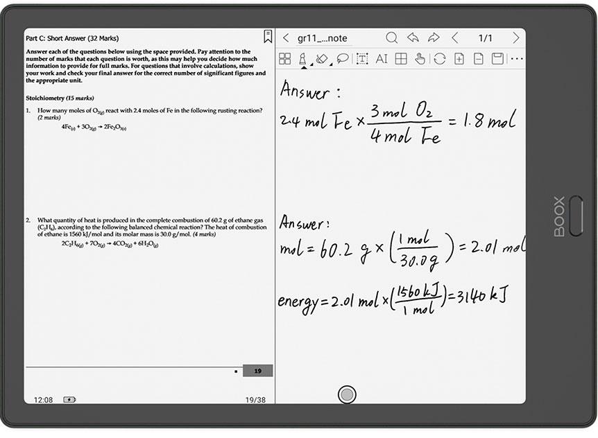 Czytnik e-booków Onyx Boox Note 2 umożliwia dzielenie strony na dwie części, dzięki czemu notowanie po plikach PDF jest bardzo wygodne.