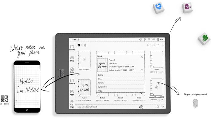Przesyłaj notatki między urządzeniami na czytniku e-booków Onyx Boox Note 2.