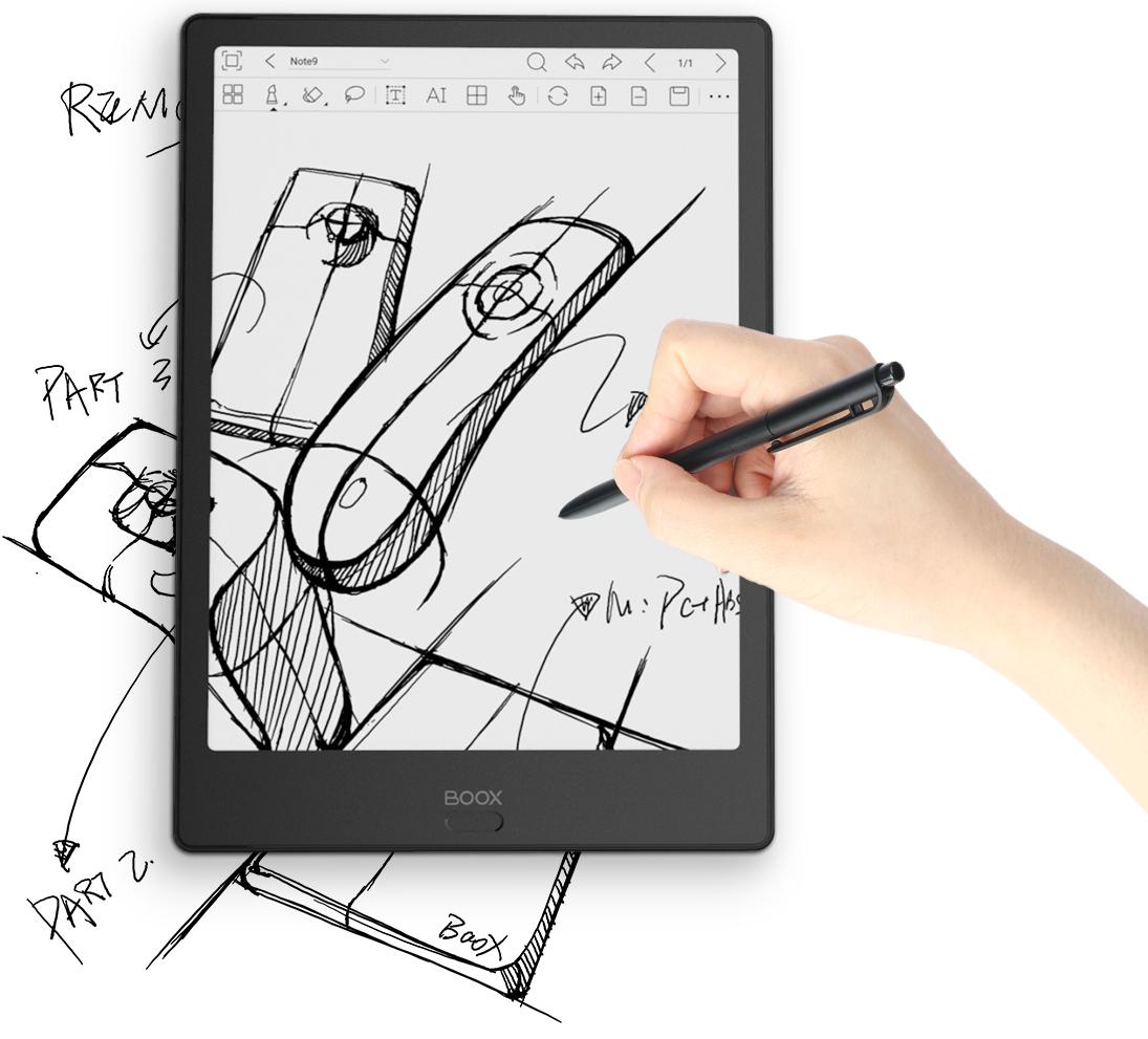 Notowanie na czytniku Onyx Boox Note 2 jest prawie  tak wygodne jak na tablecie graficznym.