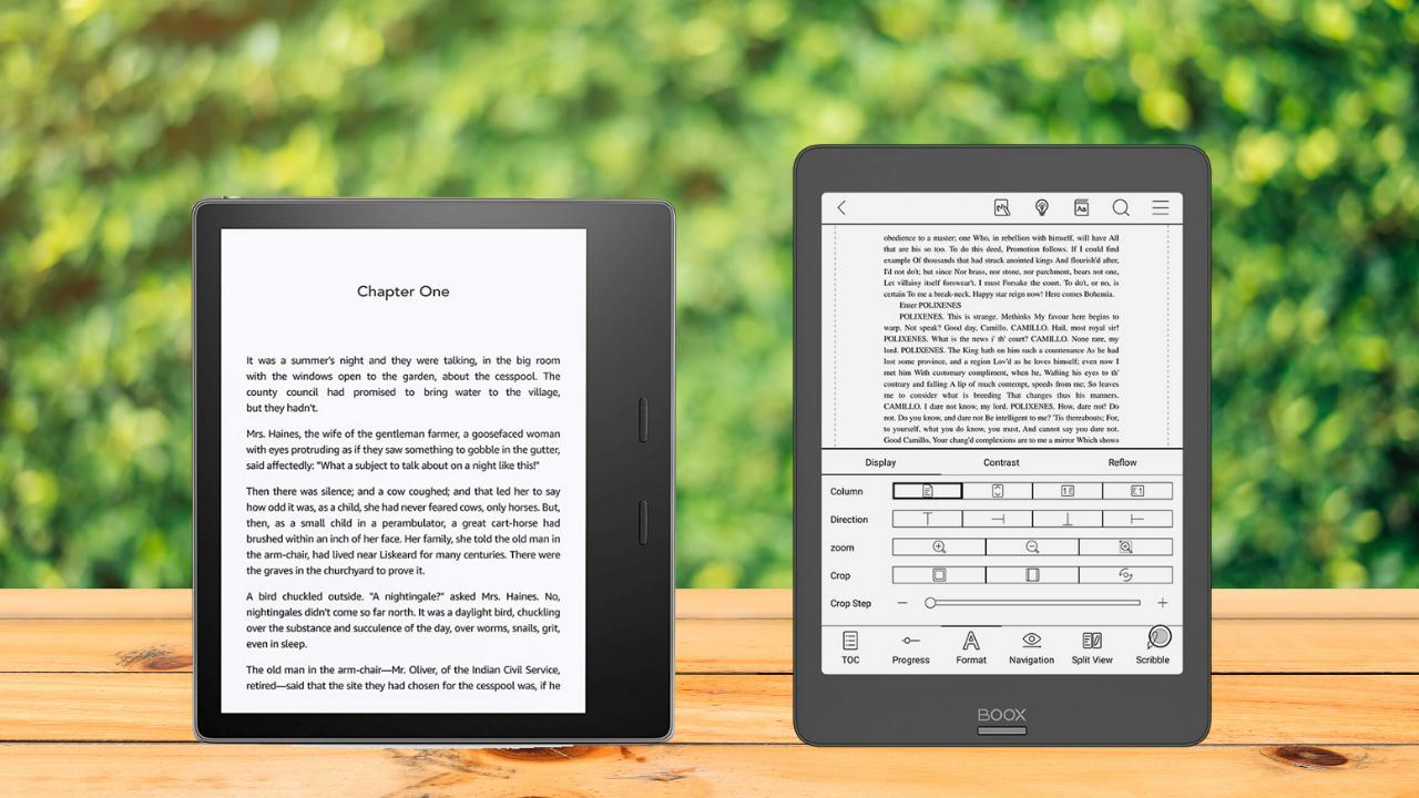 Porównanie czytników e-booków Onyx Boox Nova 2 vs kindle Oasis 3