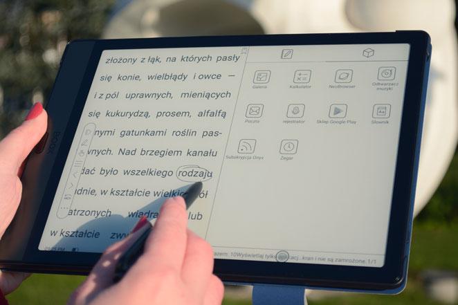 Onyx Boox Note 3 dzielenie ekranu odczyt dwóch plików jednocześnie, dwa ekrany.