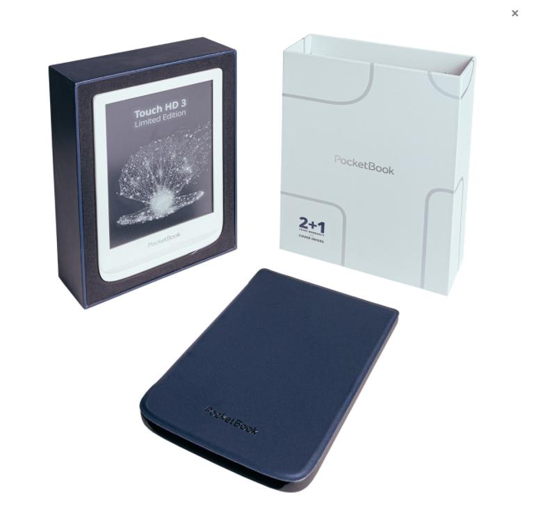 PocketBook Touch HD 3 w zestawie z granatowym etui i dodatkowym rokiem gwarancji.