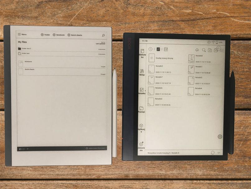 remarkable 2 porównanie z onyx boox note air ekran główny