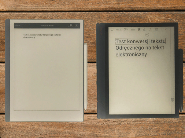 konwersja tekstu odręcznego na elektronicznego