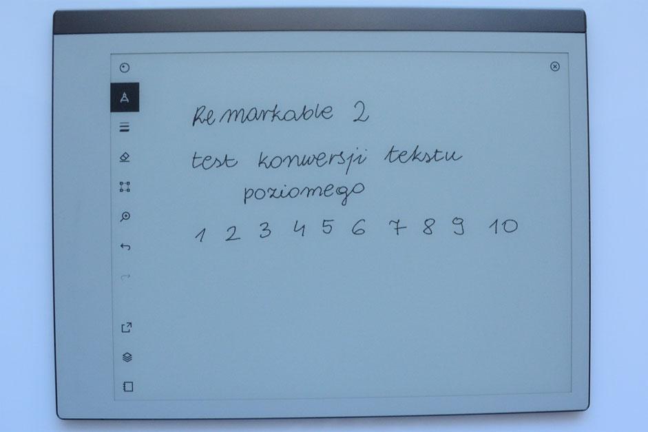 Remarkable 2 nie umożliwia konwersji tekstu w trybie poziomym.