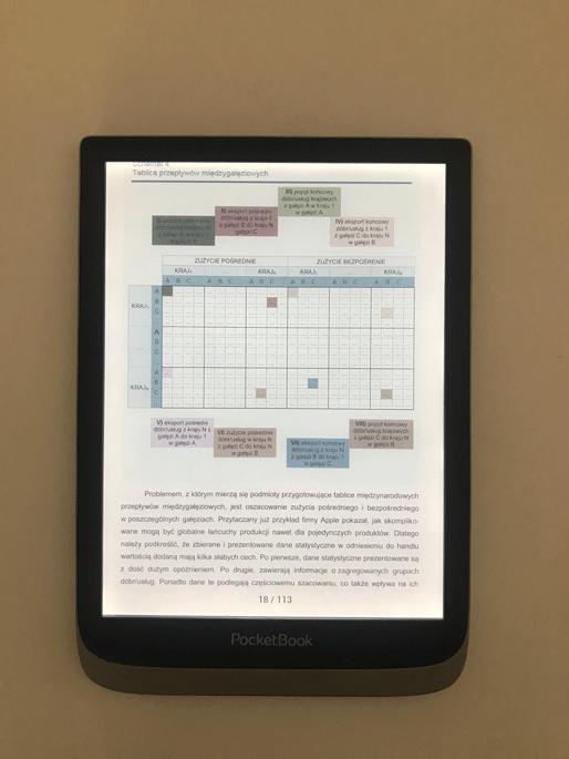 PocketBook InkPad Color do literatury naukowej kolorowe wykresy
