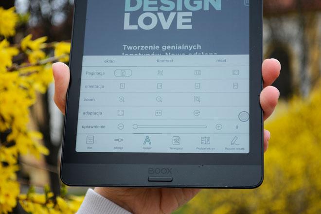Onyx Boox Nova 3 Color ustawienia tekstu w e-booku.
