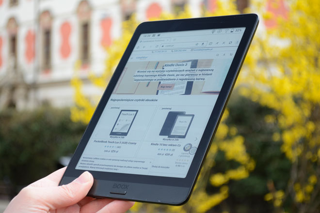 Onyx Boox Nova 3 Color przeglądarka, strony internetowe na ekranie E-Ink.
