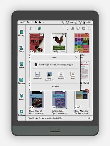 Przesyłanie e-booków na inne urządzenia na tabletach E-Ink Onyx Boox.