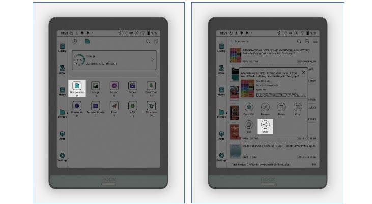 Onyx Boox udostępnianie dokumentów na smartfony, tablety i komputery.