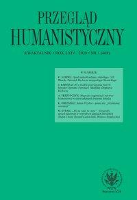 Przegląd Humanistyczny 2020/1 (468) - Tomasz Wójcik