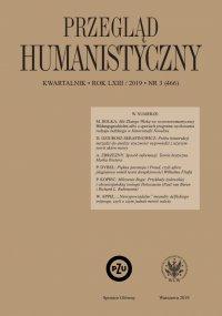 Przegląd Humanistyczny 2019/3 (466) - Tomasz Wójcik
