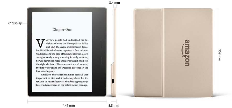 Amazon Kindle Oasis 2 (2017) 32GB Gold- wymiary